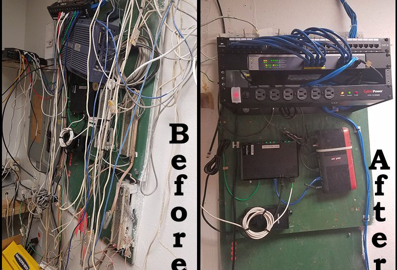 A network room repair before and after photo